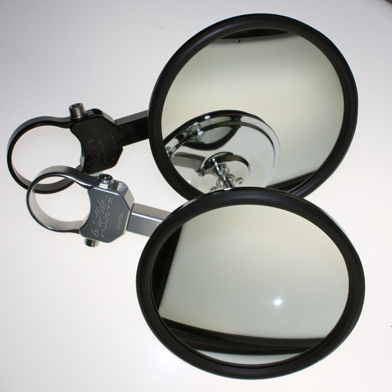 """Extended Billet Arm 5.0"""" Round FLAT GLASS Side Mirror XP 1000"""